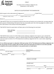 """Form F """"Notice of an Appointment for Examination"""" - Saskatchewan, Canada"""