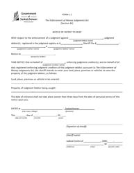 "Form J.1 ""Notice of Intent to Seize"" - Saskatchewan, Canada"