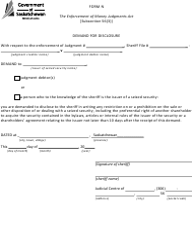 "Form N ""Demand for Disclosure"" - Saskatchewan, Canada"