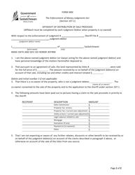 "Form MM ""Affidavit of Distribution of Sale Proceeds"" - Saskatchewan, Canada"