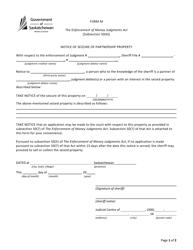 "Form M ""Notice of Seizure of Partnership Property"" - Saskatchewan, Canada"