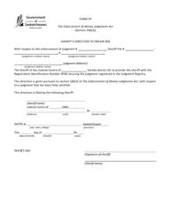 "Form PP ""Sheriff's Direction to Obtain Rin"" - Saskatchewan, Canada"