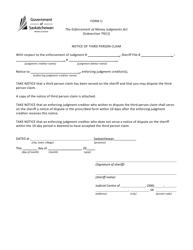 "Form U ""Notice of Third Person Claim"" - Saskatchewan, Canada"