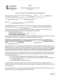"""Form S """"Notice of Seizure Affecting Employment Remuneration"""" - Saskatchewan, Canada"""