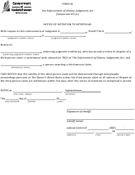 "Form W ""Notice of Intention to Interplead"" - Saskatchewan, Canada"