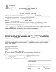 "Form R ""Notice of Assignment of Account"" - Saskatchewan, Canada"