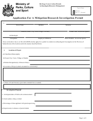 """Application for a Mitigation/Research Investigation Permit"" - Saskatchewan, Canada"