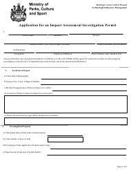 """Application for an Impact Assessment Investigation Permit"" - Saskatchewan, Canada"