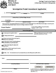 """Investigation Permit Amendment Application"" - Saskatchewan, Canada"