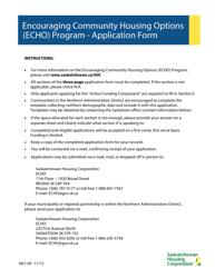 """Form H07-AP """"Encouraging Community Housing Options (Echo) Program - Application Form"""" - Saskatchewan, Canada"""