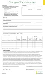 "Form 1243 ""Change of Circumstances"" - Saskatchewan, Canada"