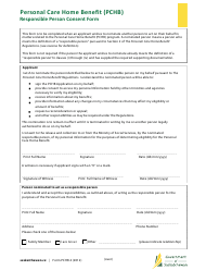 """Form PCHB4 """"Personal Care Home Benefit (Pchb) Responsible Person Consent Form"""" - Saskatchewan, Canada"""