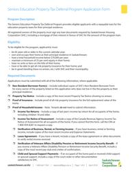 """Seniors Education Property Tax Deferral Program Application Form"" - Saskatchewan, Canada"