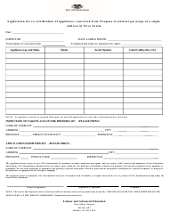 """""""Application for Re-certification of Appliances Converted From Propane to Natural Gas Usage at a Single Address in Nova Scotia"""" - Nova Scotia, Canada"""