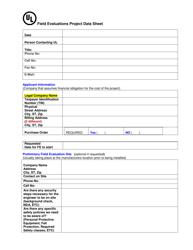 """""""Field Evaluations Project Data Sheet"""" - Nova Scotia, Canada"""