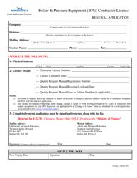 """Boiler & Pressure Equipment (Bpe) Contractor License Renewal Application"" - Nova Scotia, Canada"