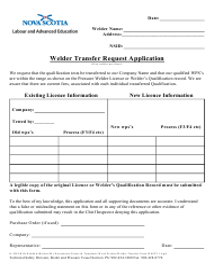 """Welder Transfer Request Application"" - Nova Scotia, Canada"