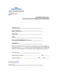 """Installation Report for Cast Iron and Cast Aluminum Sectional Boilers"" - Nova Scotia, Canada"