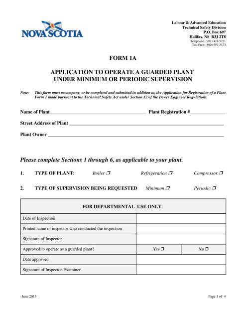 Form 1A Printable Pdf