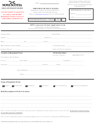 """""""Bpe Contractor Permit Application Form"""" - Nova Scotia, Canada"""