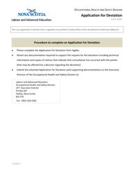 """Form 301 """"Application for Deviation"""" - Nova Scotia, Canada"""