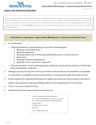 """Form 1101 """"Specialized Blasting (Or a Special Case Blast) Form"""" - Nova Scotia, Canada"""