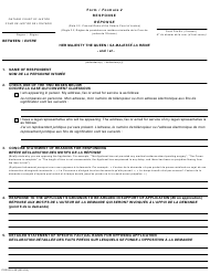 "Form 2 ""Response"" - Ontario, Canada (English/French)"