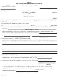 "Form 20 ""Application for Review of Parole Ineligibility"" - Ontario, Canada"