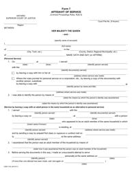 "Form 7 ""Affidavit of Service"" - Ontario, Canada"