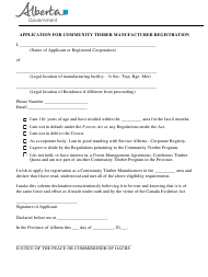 """Application for Community Timber Manufacturer Registration"" - Alberta, Canada"