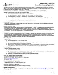 "Form CDEV4015 ""High School Child Care Career Scholarship Application"" - Alberta, Canada"