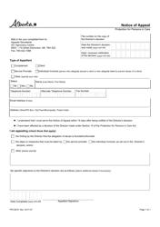 "Form PPC3818 ""Notice of Appeal"" - Alberta, Canada"