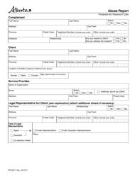 "Form PPC3817 ""Abuse Report"" - Alberta, Canada"