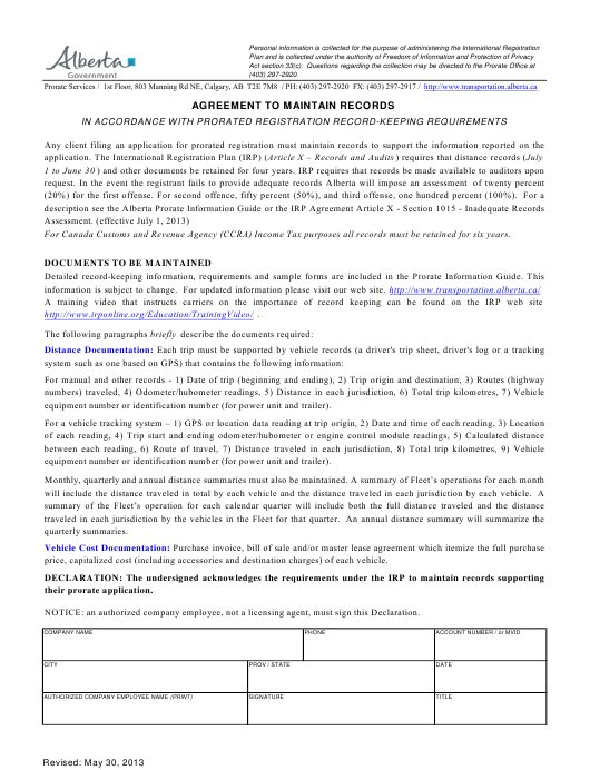 """""""Agreement to Maintain Records"""" - Alberta, Canada Download Pdf"""