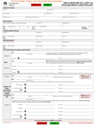 "Form VSA410B ""Declaration of Lost or Stolen Birth Certificate"" - British Columbia, Canada"