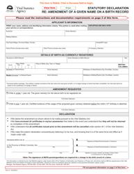"Form VSA411 ""Statutory Declaration Re: Amendment of a Given Name on a Birth Record"" - British Columbia, Canada"