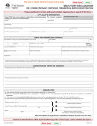 "Form VSA412B ""Statutory Declaration Re: Correction of Error or Omission in Birth Registration"" - British Columbia, Canada"