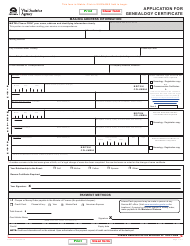"""Form VSA013 """"Application for Genealogy Certificate"""" - British Columbia, Canada"""