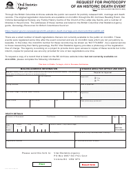 """Form VSA797D """"Request for Photocopy of an Historic Death Event (Not on Released Microfilms)"""" - British Columbia, Canada"""