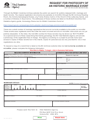 """Form VSA798 """"Request for Photocopy of an Historic Marriage Event (Not on Released Microfilms)"""" - British Columbia, Canada"""