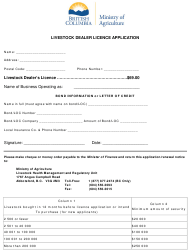 """Livestock Dealer Licence Application"" - British Columbia, Canada"