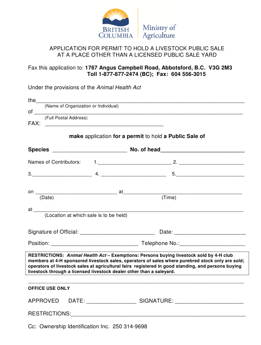 """Application for Permit to Hold a Livestock Public Sale at a Place Other Than a Licensed Public Sale Yard (Purebred or 4h Only)"" - British Columbia, Canada Download Pdf"
