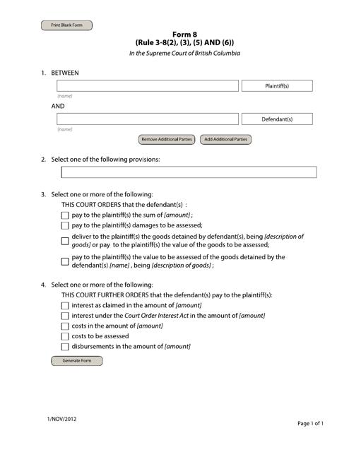Form 8 Printable Pdf