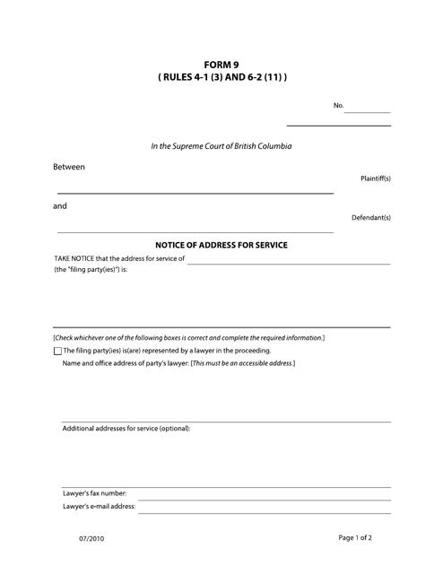 Form 9 Printable Pdf