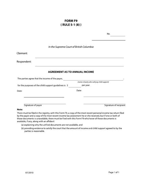 Form F9 Printable Pdf