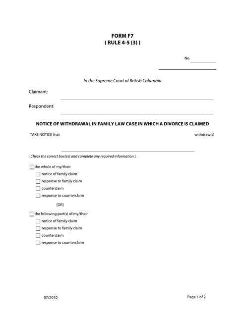 Form F7 Printable Pdf
