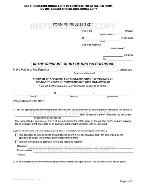 Form P6 Printable Pdf