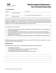"Form 48.2 ""Victim Impact Statement - Not Criminally Responsible"" - British Columbia, Canada"