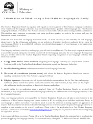 """""""Sample Letter Concerning Establishing an Official Language Authority for a First Nations Language"""" - British Columbia, Canada"""