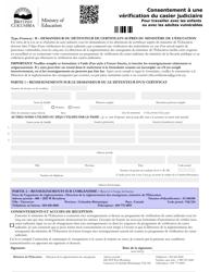 """""""Consentement a Une Verification Du Casier Judiciaire Pour Travailler Avec Les Enfants Ou Avec Les Adultes Vulnerables"""" - British Columbia, Canada (French)"""